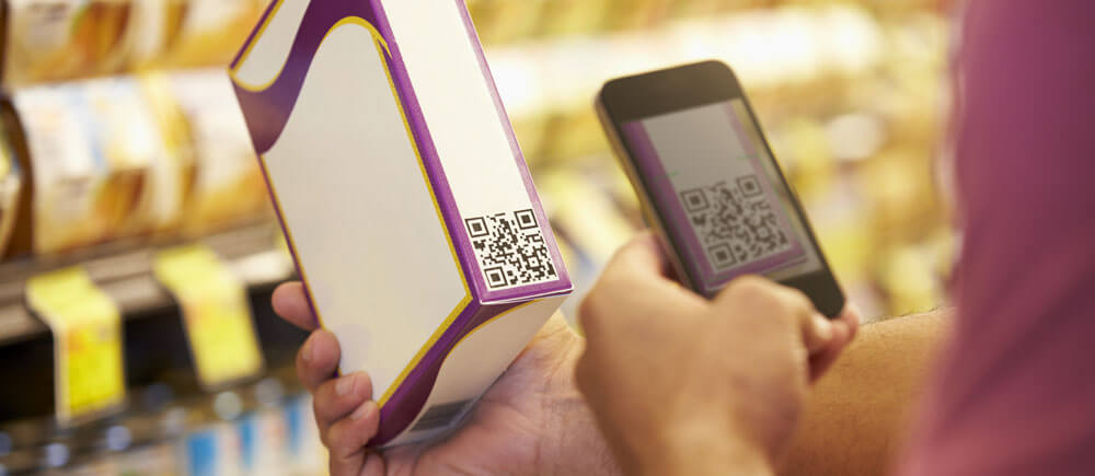 Scanning a QR code at the supermarket