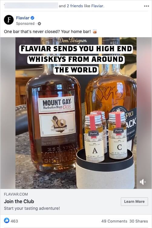 Whiskey Ad on Facebook