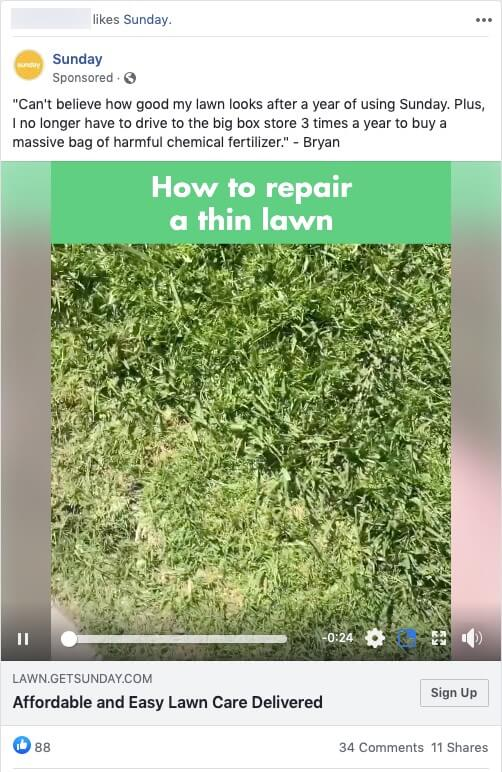 Sunday Lawn Care Ad on Facebook