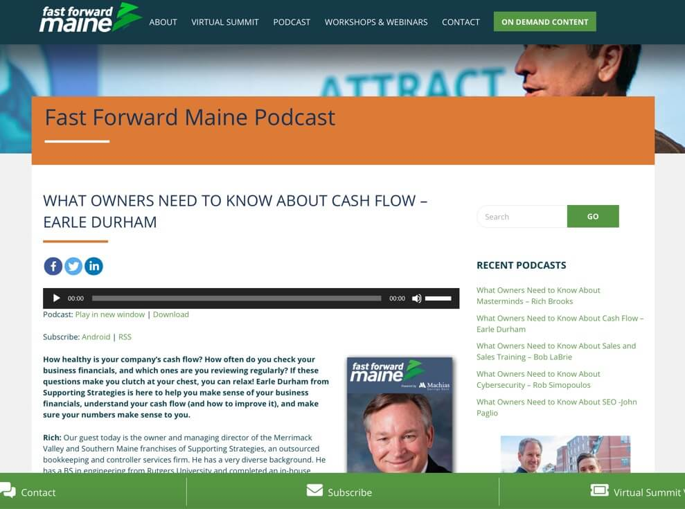 Fast Forward Maine Podcast Website - Example Website for your podcast