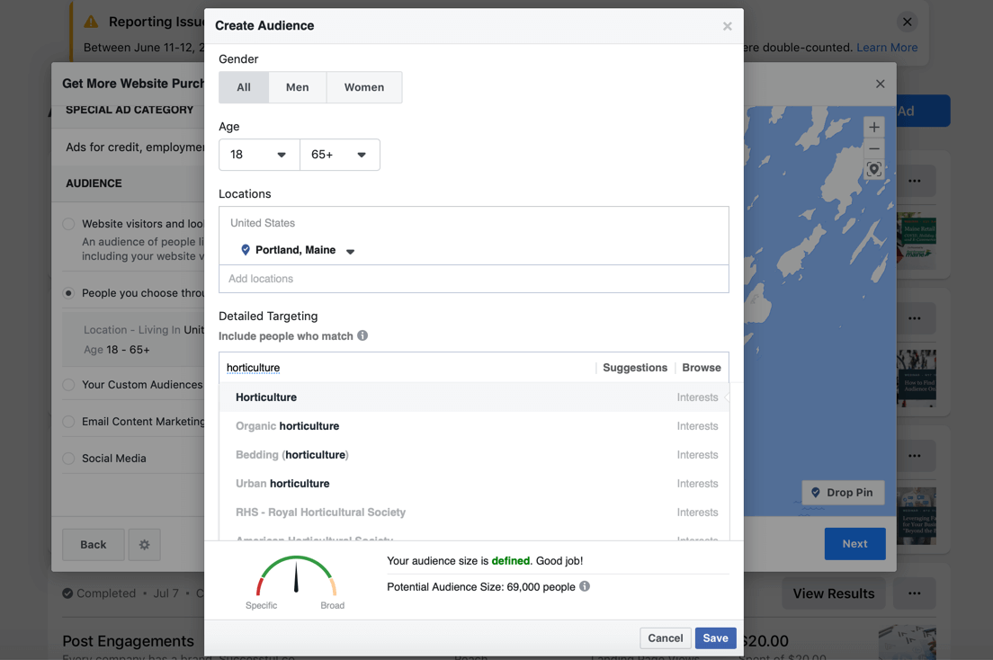 Targeting customers via Facebook Ads Manager