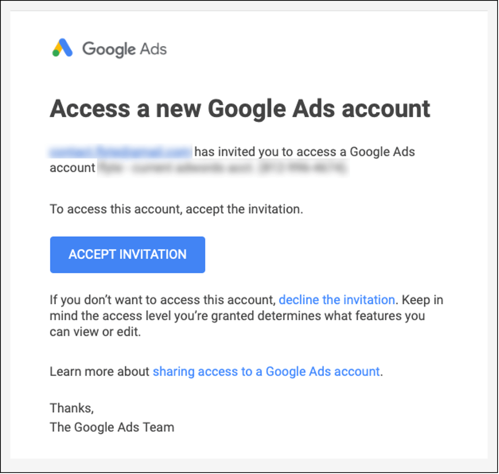 Screenshot: Accessing a Google Ads Account